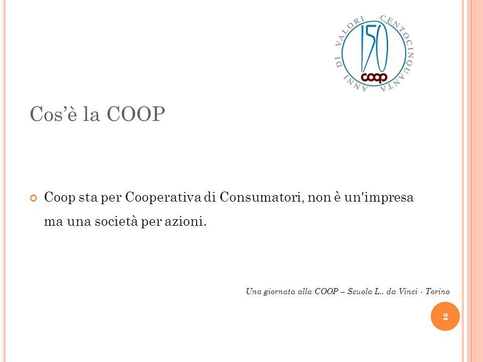 Cosè la COOP Coop sta per Cooperativa di Consumatori, non è un'impresa ma una società per azioni. 2 Una giornata alla COOP – Scuola L.. da Vinci - Tor