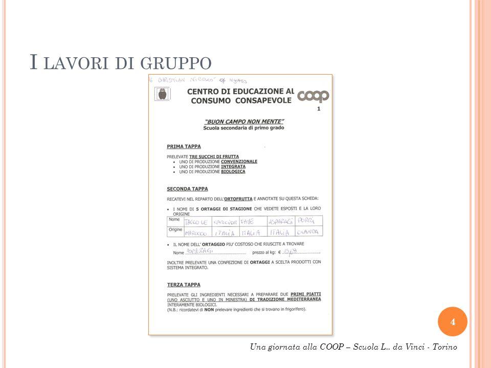 I LAVORI DI GRUPPO 4 Una giornata alla COOP – Scuola L.. da Vinci - Torino