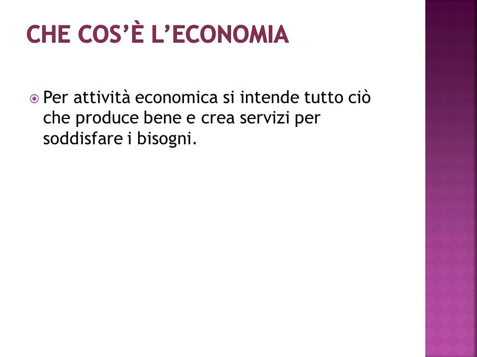 Per attività economica si intende tutto ciò che produce bene e crea servizi per soddisfare i bisogni.