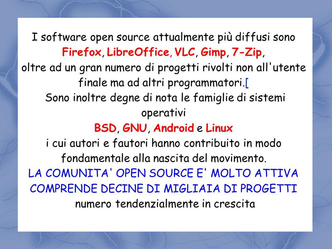 I software open source attualmente più diffusi sono Firefox, LibreOffice, VLC, Gimp, 7-Zip, oltre ad un gran numero di progetti rivolti non all utente finale ma ad altri programmatori.[ Sono inoltre degne di nota le famiglie di sistemi operativi BSD, GNU, Android e Linux i cui autori e fautori hanno contribuito in modo fondamentale alla nascita del movimento.