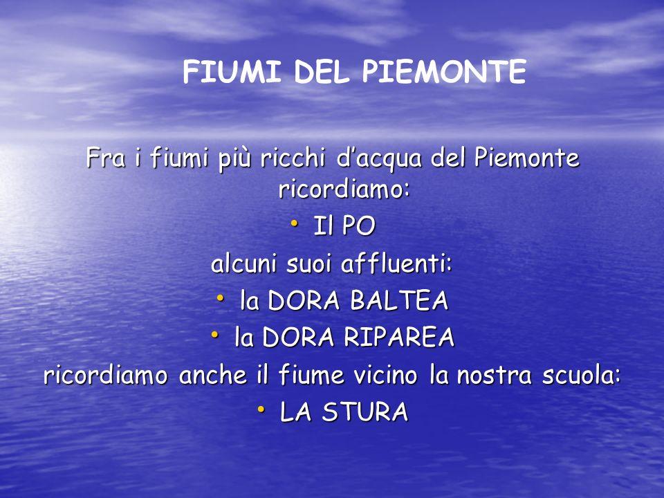 Fra i fiumi più ricchi dacqua del Piemonte ricordiamo: Il PO Il PO alcuni suoi affluenti: la DORA BALTEA la DORA BALTEA la DORA RIPAREA la DORA RIPARE