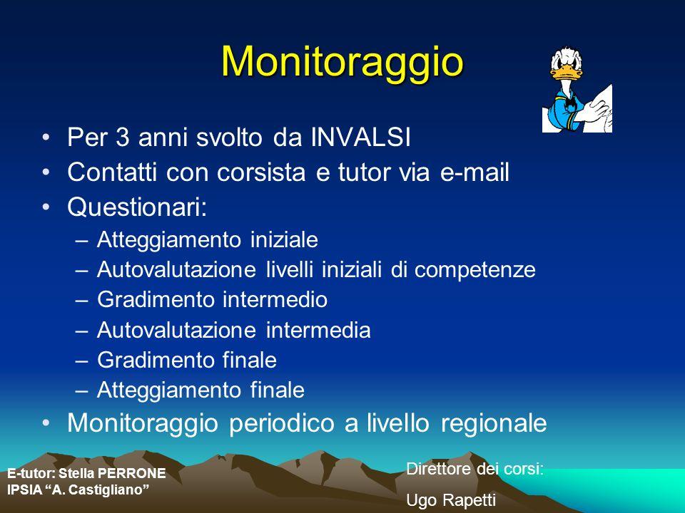 E-tutor: Stella PERRONE IPSIA A. Castigliano Direttore dei corsi: Ugo Rapetti Monitoraggio Per 3 anni svolto da INVALSI Contatti con corsista e tutor