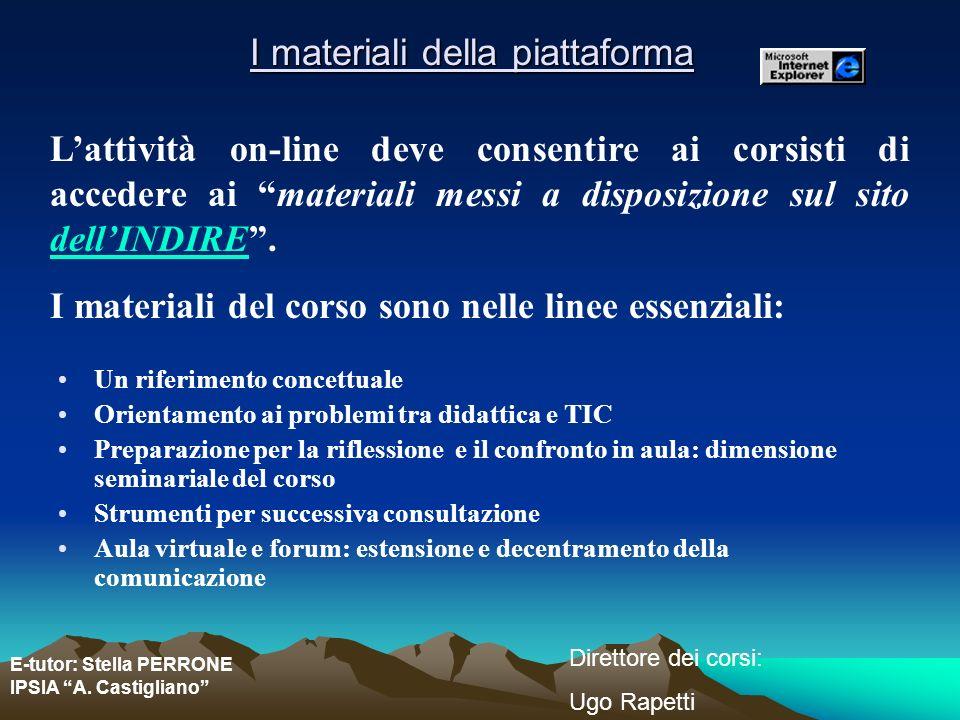 E-tutor: Stella PERRONE IPSIA A. Castigliano Direttore dei corsi: Ugo Rapetti I materiali della piattaforma Un riferimento concettuale Orientamento ai