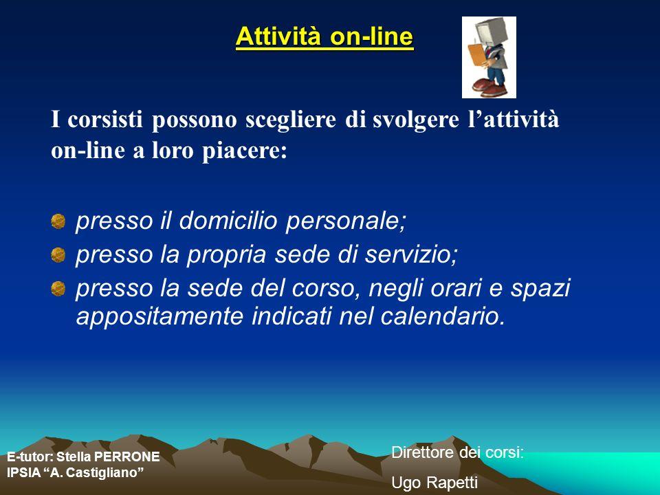E-tutor: Stella PERRONE IPSIA A. Castigliano Direttore dei corsi: Ugo Rapetti Attività on-line I corsisti possono scegliere di svolgere lattività on-l
