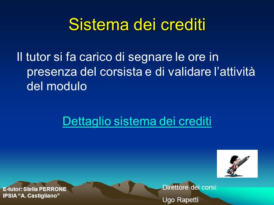 E-tutor: Stella PERRONE IPSIA A. Castigliano Direttore dei corsi: Ugo Rapetti Sistema dei crediti Il tutor si fa carico di segnare le ore in presenza