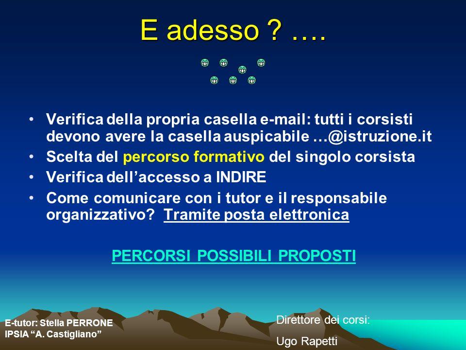 E-tutor: Stella PERRONE IPSIA A. Castigliano Direttore dei corsi: Ugo Rapetti E adesso ? …. Verifica della propria casella e-mail: tutti i corsisti de