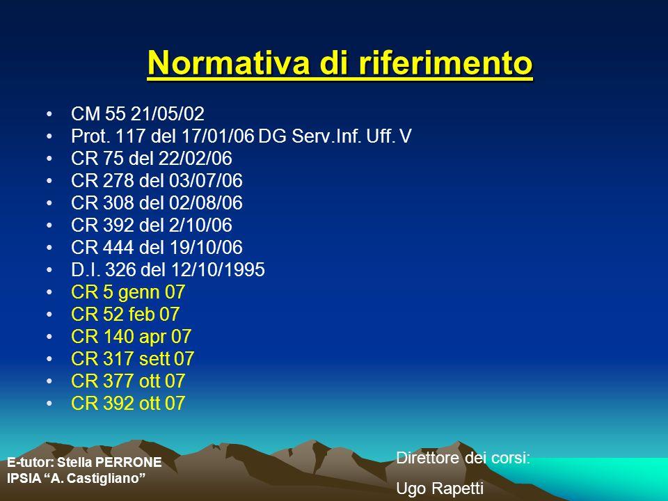 E-tutor: Stella PERRONE IPSIA A. Castigliano Direttore dei corsi: Ugo Rapetti Normativa di riferimento CM 55 21/05/02 Prot. 117 del 17/01/06 DG Serv.I