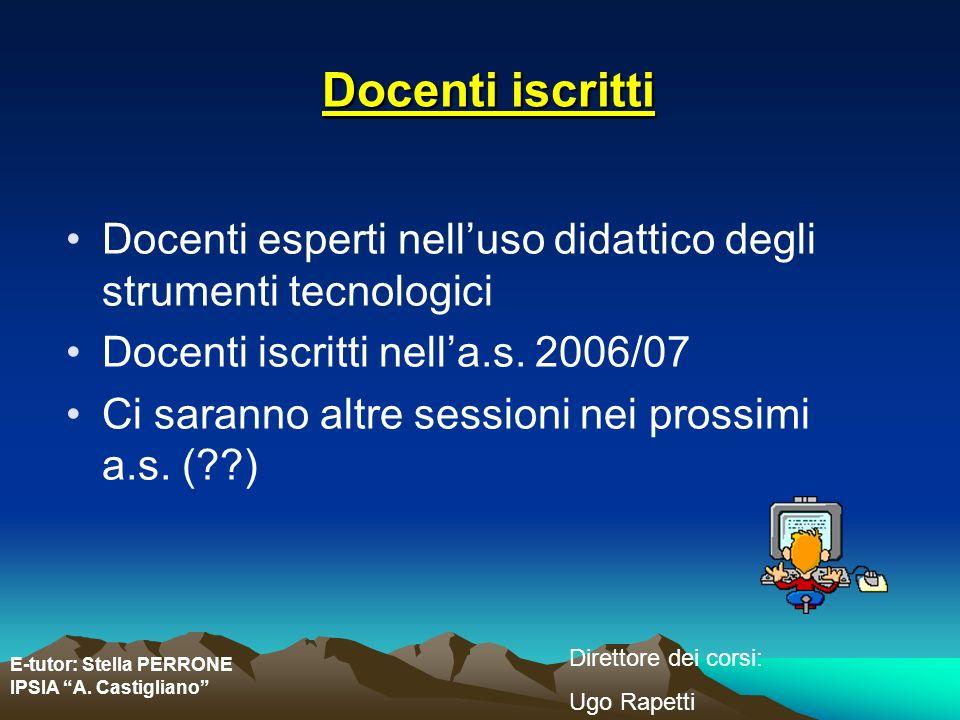 E-tutor: Stella PERRONE IPSIA A. Castigliano Direttore dei corsi: Ugo Rapetti Docenti iscritti Docenti esperti nelluso didattico degli strumenti tecno