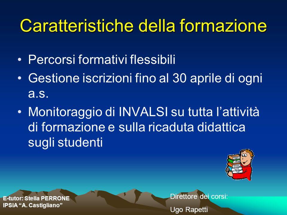 E-tutor: Stella PERRONE IPSIA A. Castigliano Direttore dei corsi: Ugo Rapetti Caratteristiche della formazione Percorsi formativi flessibili Gestione