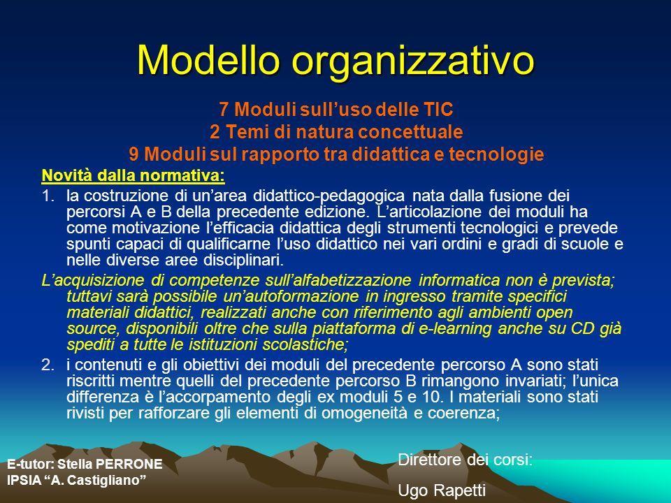 E-tutor: Stella PERRONE IPSIA A. Castigliano Direttore dei corsi: Ugo Rapetti Modello organizzativo 7 Moduli sulluso delle TIC 2 Temi di natura concet
