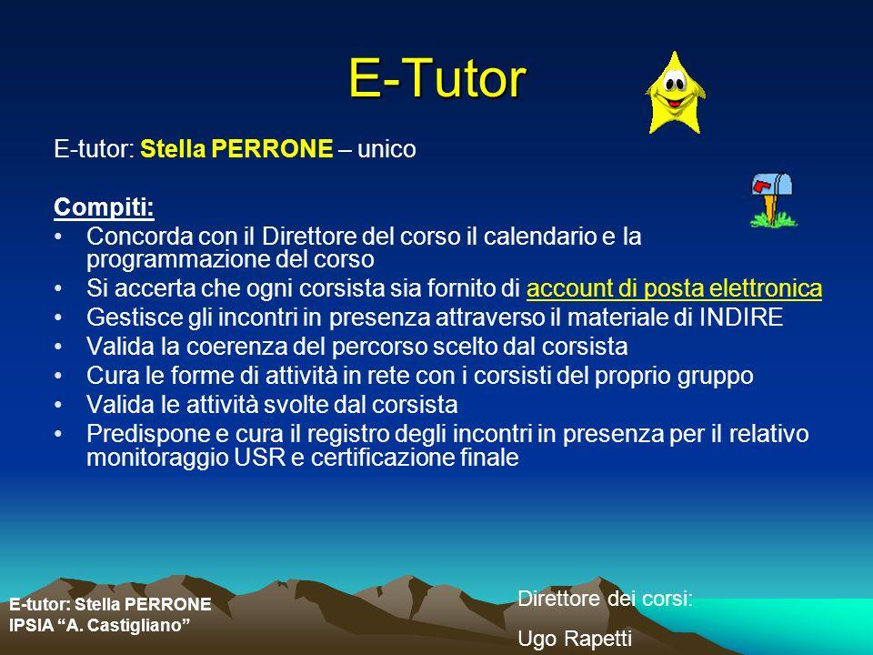 E-tutor: Stella PERRONE IPSIA A. Castigliano Direttore dei corsi: Ugo Rapetti E-Tutor E-tutor: Stella PERRONE – unico Compiti: Concorda con il Diretto