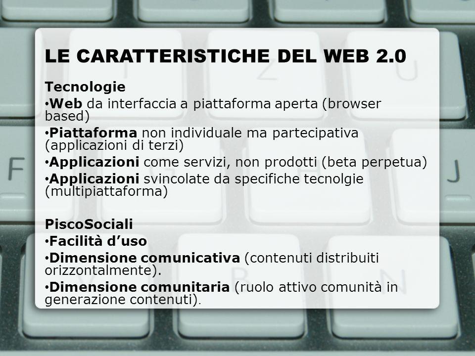 LE CARATTERISTICHE DEL WEB 2.0 Tecnologie Web da interfaccia a piattaforma aperta (browser based) Piattaforma non individuale ma partecipativa (applic