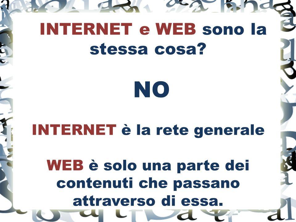 INTERNET e WEB sono la stessa cosa.