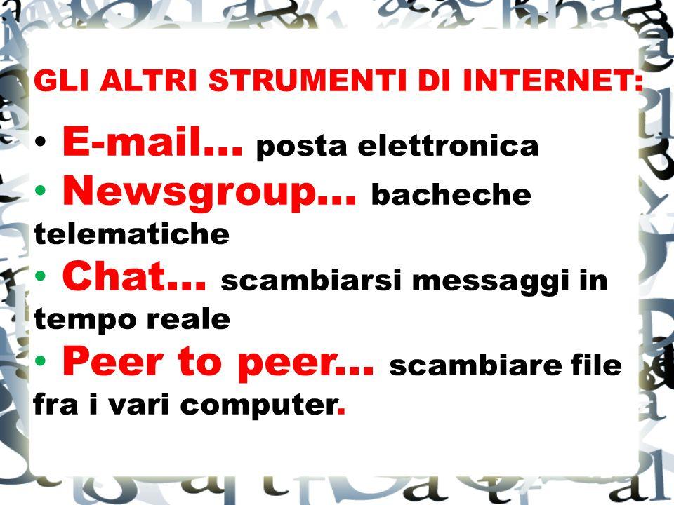 GLI ALTRI STRUMENTI DI INTERNET: E-mail...posta elettronica Newsgroup...