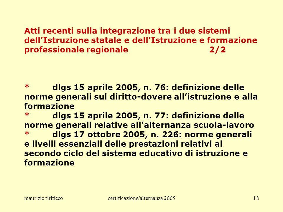 maurizio tiriticcocertificazione/alternanza 200518 Atti recenti sulla integrazione tra i due sistemi dellIstruzione statale e dellIstruzione e formazione professionale regionale 2/2 *dlgs 15 aprile 2005, n.