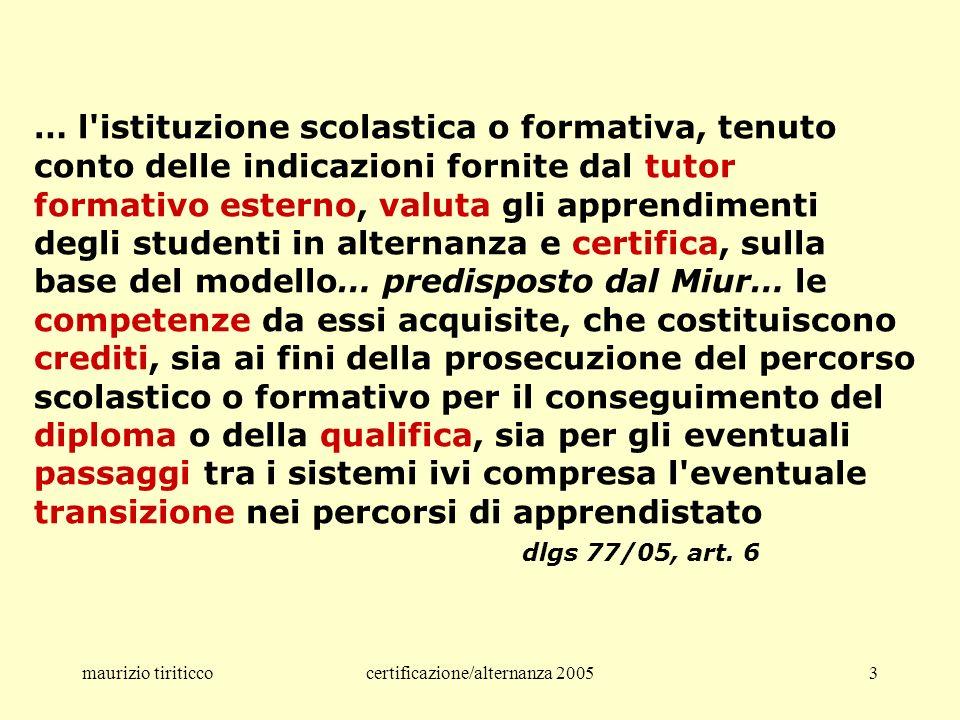 maurizio tiriticcocertificazione/alternanza 20054 I concetti fondanti educazione – i valori istruzione – i saperi formazione – i comportamenti dpr 275/99, art.
