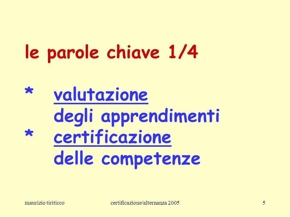 maurizio tiriticcocertificazione/alternanza 20055 le parole chiave 1/4 *valutazione degli apprendimenti *certificazione delle competenze