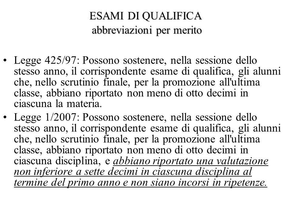 ESAMI DI QUALIFICA abbreviazioni per merito Legge 425/97: Possono sostenere, nella sessione dello stesso anno, il corrispondente esame di qualifica, gli alunni che, nello scrutinio finale, per la promozione all ultima classe, abbiano riportato non meno di otto decimi in ciascuna la materia.