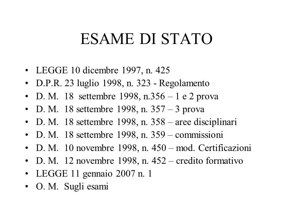 ESAME DI STATO LEGGE 10 dicembre 1997, n. 425 D.P.R.