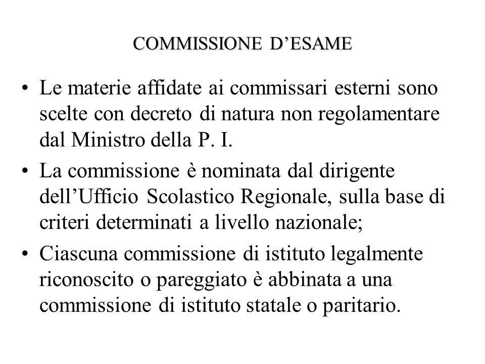 COMMISSIONE DESAME Le materie affidate ai commissari esterni sono scelte con decreto di natura non regolamentare dal Ministro della P.