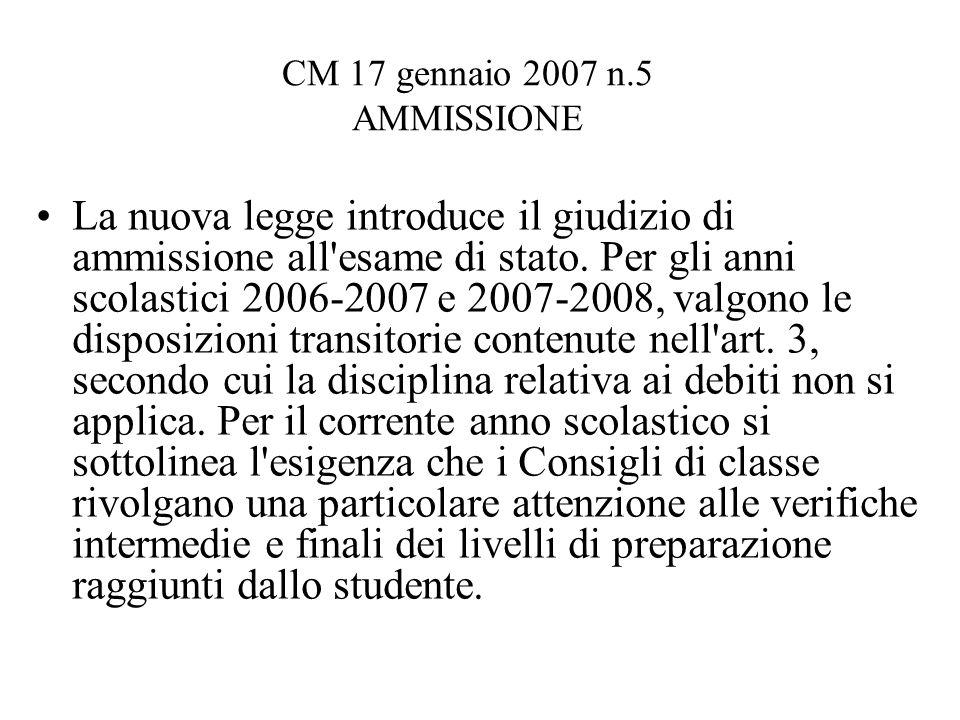 CM 17 gennaio 2007 n.5 AMMISSIONE La nuova legge introduce il giudizio di ammissione all esame di stato.