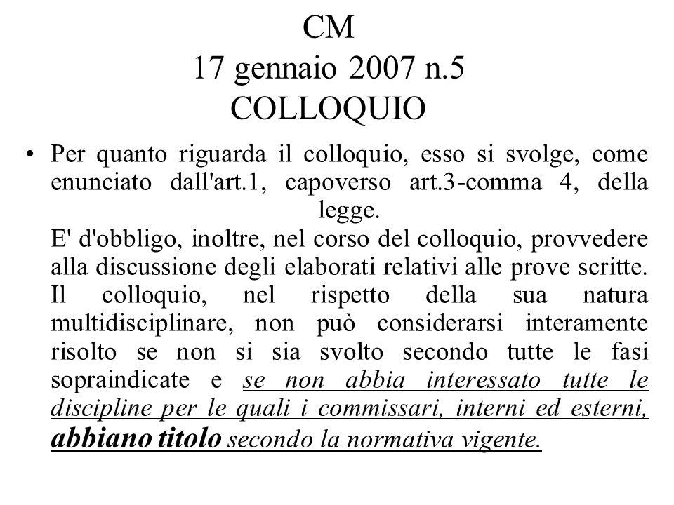 CM 17 gennaio 2007 n.5 COLLOQUIO Per quanto riguarda il colloquio, esso si svolge, come enunciato dall art.1, capoverso art.3-comma 4, della legge.
