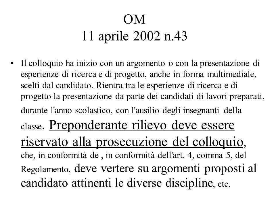 OM 11 aprile 2002 n.43 Il colloquio ha inizio con un argomento o con la presentazione di esperienze di ricerca e di progetto, anche in forma multimediale, scelti dal candidato.