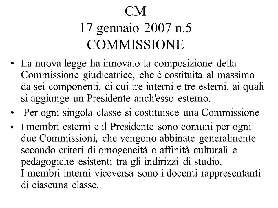 CM 17 gennaio 2007 n.5 COMMISSIONE La nuova legge ha innovato la composizione della Commissione giudicatrice, che è costituita al massimo da sei componenti, di cui tre interni e tre esterni, ai quali si aggiunge un Presidente anch esso esterno.