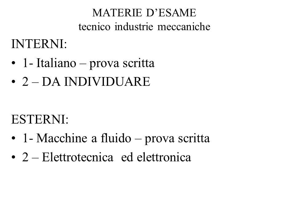 MATERIE DESAME tecnico industrie meccaniche INTERNI: 1- Italiano – prova scritta 2 – DA INDIVIDUARE ESTERNI: 1- Macchine a fluido – prova scritta 2 – Elettrotecnica ed elettronica