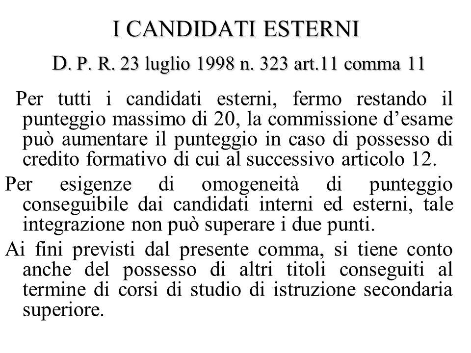 I CANDIDATI ESTERNI D.P. R. 23 luglio 1998 n. 323 art.12 Art.