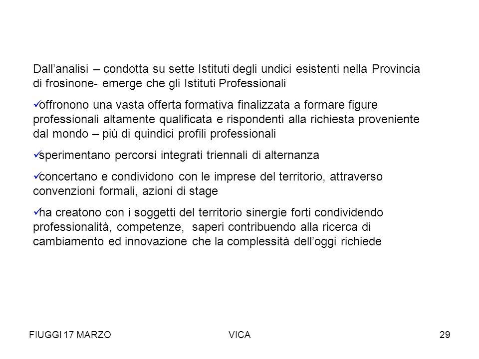 FIUGGI 17 MARZOVICA29 Dallanalisi – condotta su sette Istituti degli undici esistenti nella Provincia di frosinone- emerge che gli Istituti Profession