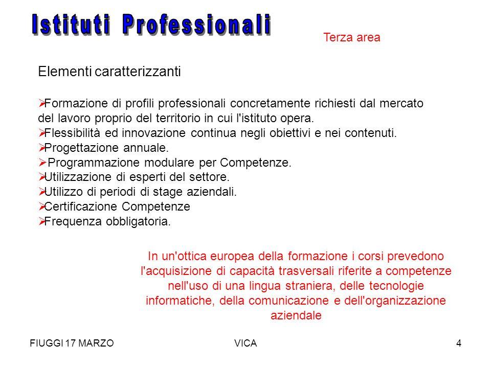 FIUGGI 17 MARZOVICA4 Elementi caratterizzanti Formazione di profili professionali concretamente richiesti dal mercato del lavoro proprio del territori