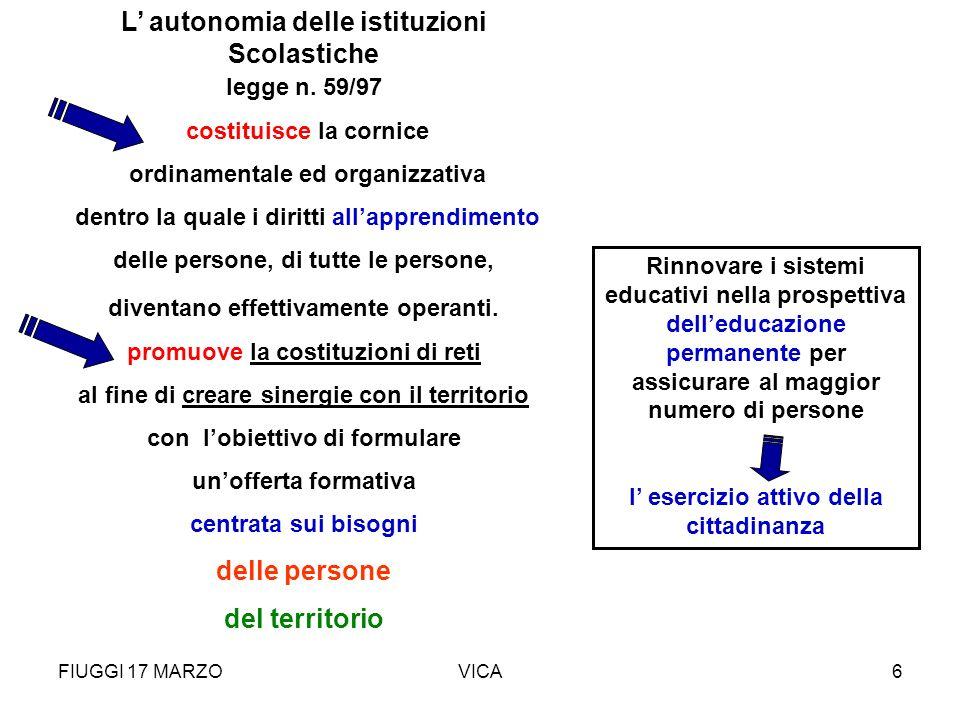 FIUGGI 17 MARZOVICA6 L autonomia delle istituzioni Scolastiche legge n. 59/97 costituisce la cornice ordinamentale ed organizzativa dentro la quale i