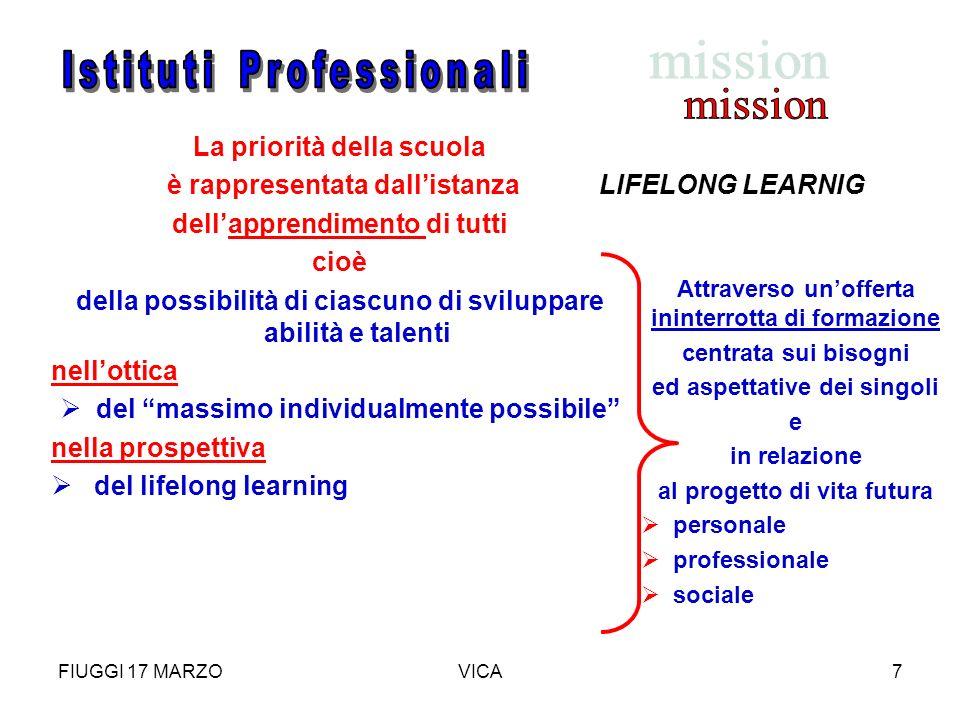 FIUGGI 17 MARZOVICA7 La priorità della scuola è rappresentata dallistanza dellapprendimento di tutti cioè della possibilità di ciascuno di sviluppare