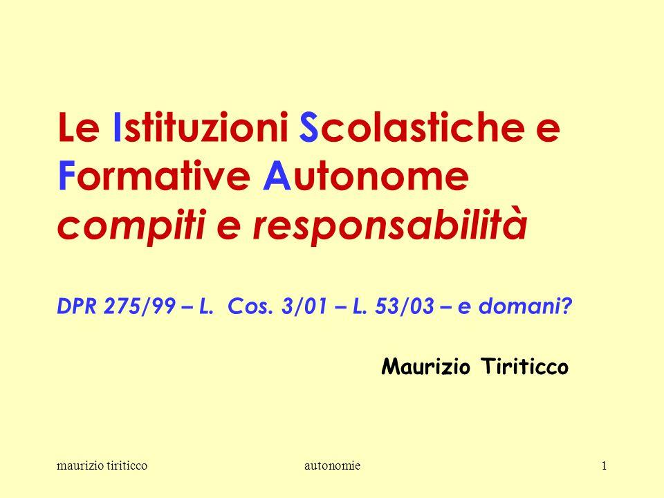 maurizio tiriticcoautonomie1 Le Istituzioni Scolastiche e Formative Autonome compiti e responsabilità DPR 275/99 – L.