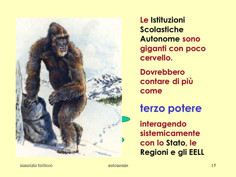 maurizio tiriticcoautonomie15 Le Istituzioni Scolastiche Autonome sono giganti con poco cervello.