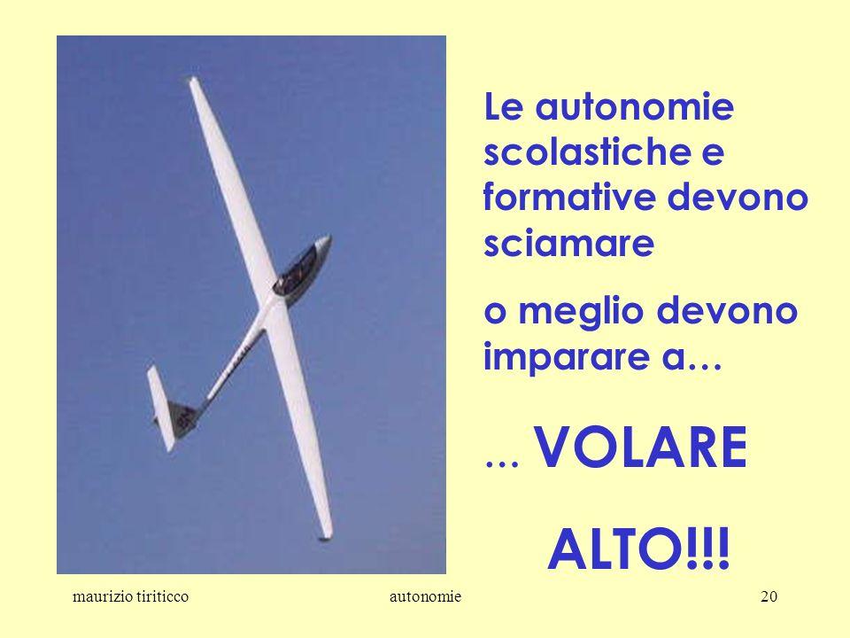 maurizio tiriticcoautonomie20 Le autonomie scolastiche e formative devono sciamare o meglio devono imparare a… … VOLARE ALTO!!!