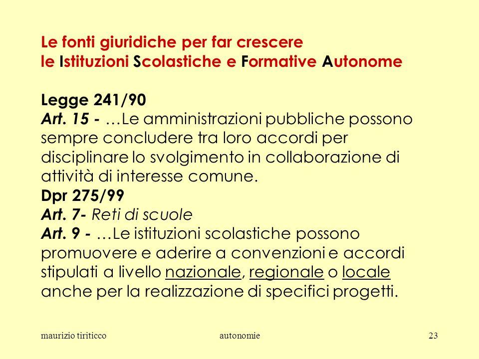 maurizio tiriticcoautonomie23 Le fonti giuridiche per far crescere le Istituzioni Scolastiche e Formative Autonome Legge 241/90 Art.