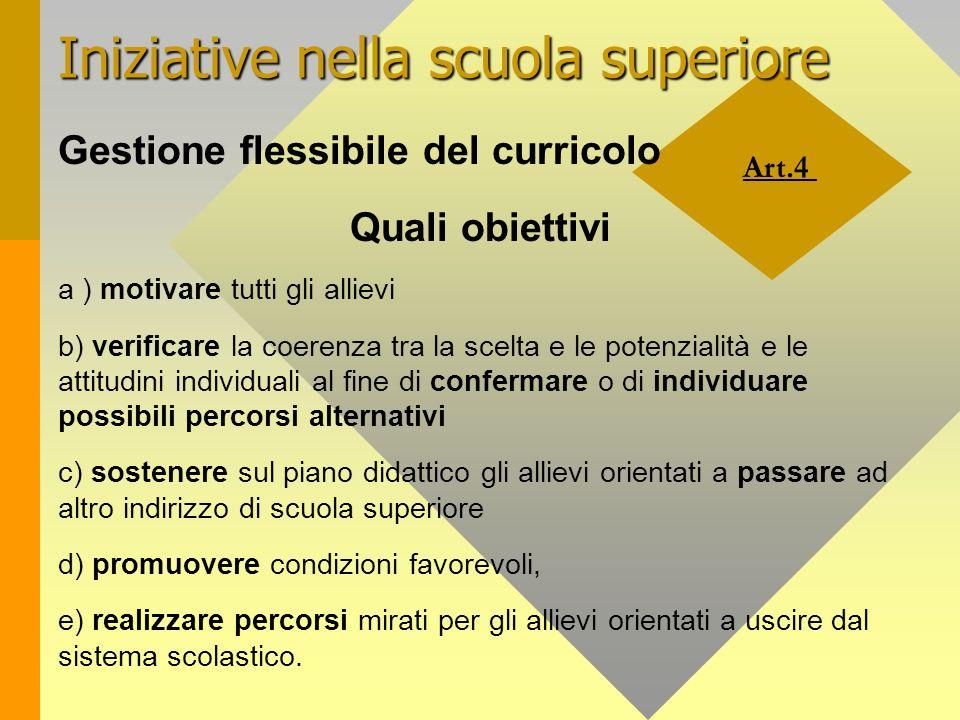 Art.4 Iniziative nella scuola superiore Gestione flessibile del curricolo Quali obiettivi a ) motivare tutti gli allievi b) verificare la coerenza tra