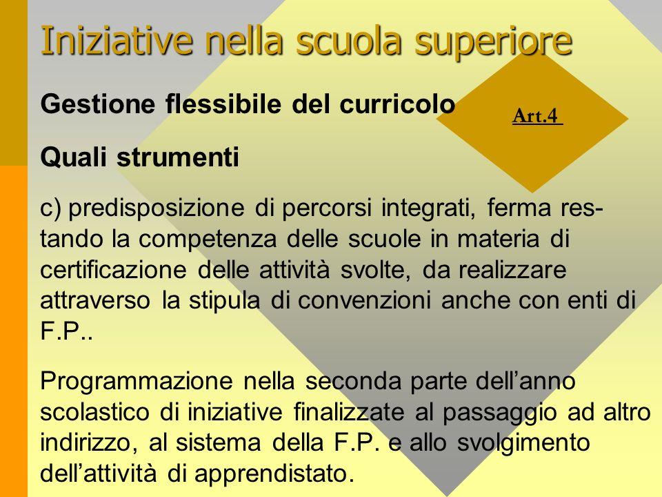 Art.4 Iniziative nella scuola superiore Gestione flessibile del curricolo Quali strumenti c) predisposizione di percorsi integrati, ferma res- tando l