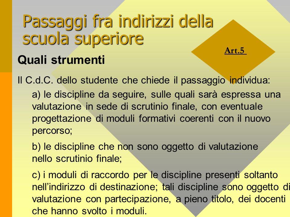 Art.5 Passaggi fra indirizzi della scuola superiore Quali strumenti Il C.d.C. dello studente che chiede il passaggio individua: a) le discipline da se