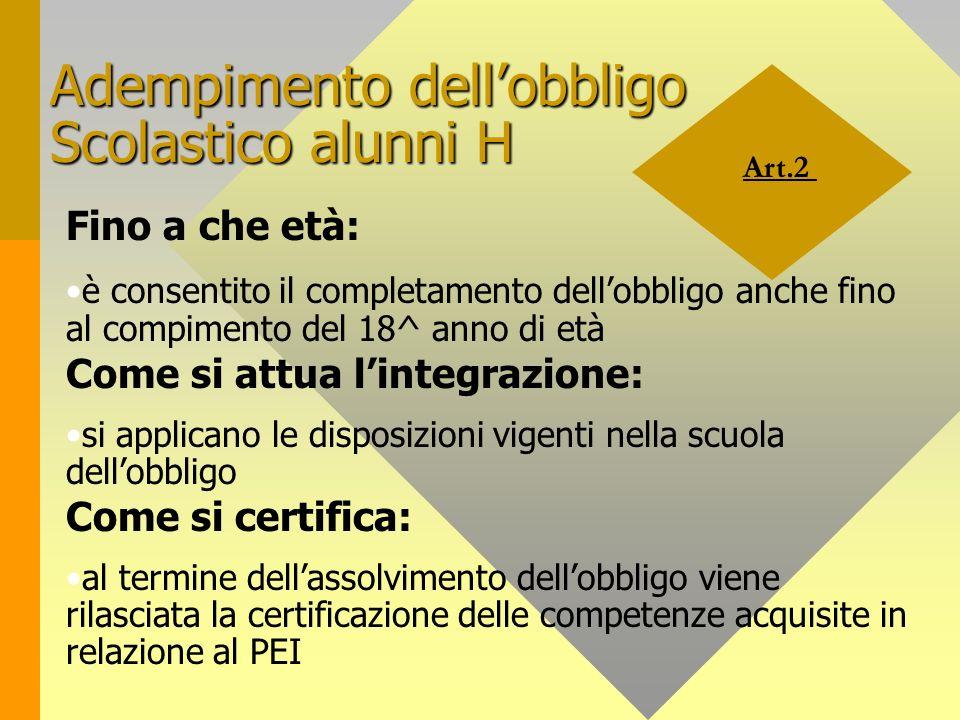 Art.2 Adempimento dellobbligo Scolastico alunni H Fino a che età: è consentito il completamento dellobbligo anche fino al compimento del 18^ anno di e