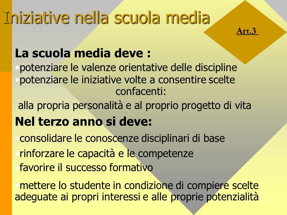 Art.3 Iniziative nella scuola media La scuola media deve : potenziare le valenze orientative delle discipline potenziare le iniziative volte a consent
