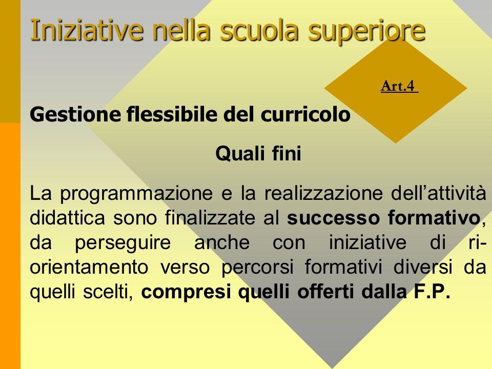 Art.4 Iniziative nella scuola superiore Gestione flessibile del curricolo Quali fini La programmazione e la realizzazione dellattività didattica sono