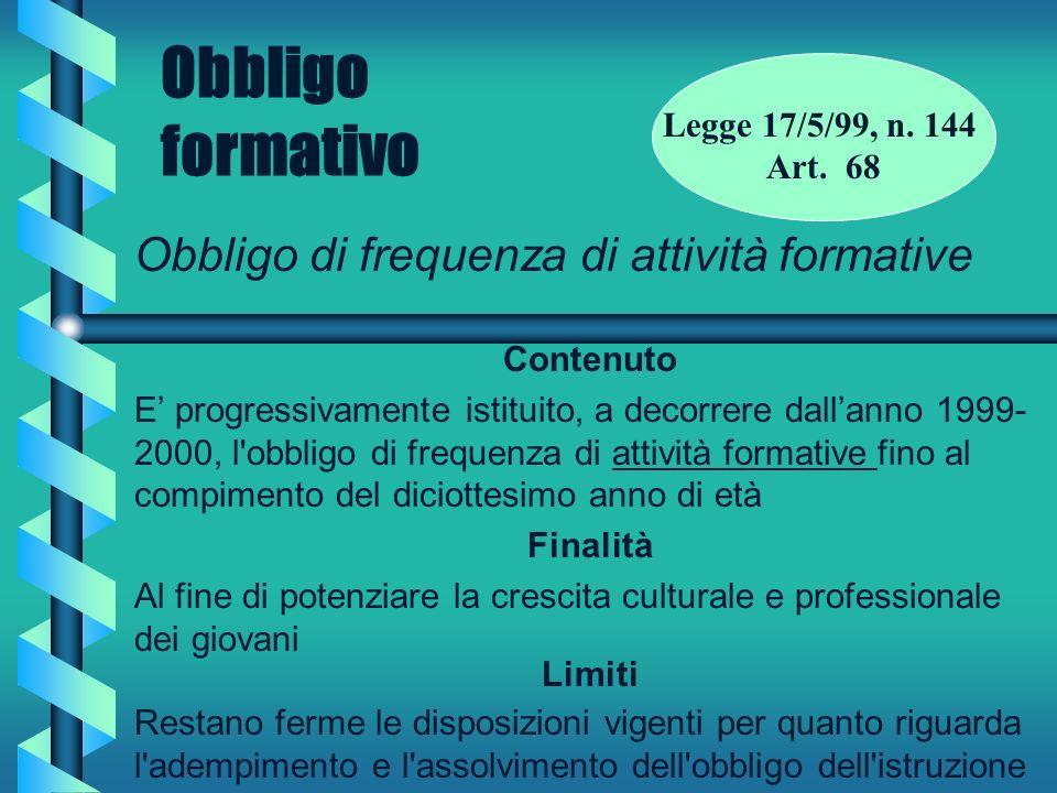 Obbligo formativo Obbligo di frequenza di attività formative Contenuto E progressivamente istituito, a decorrere dallanno 1999- 2000, l'obbligo di fre