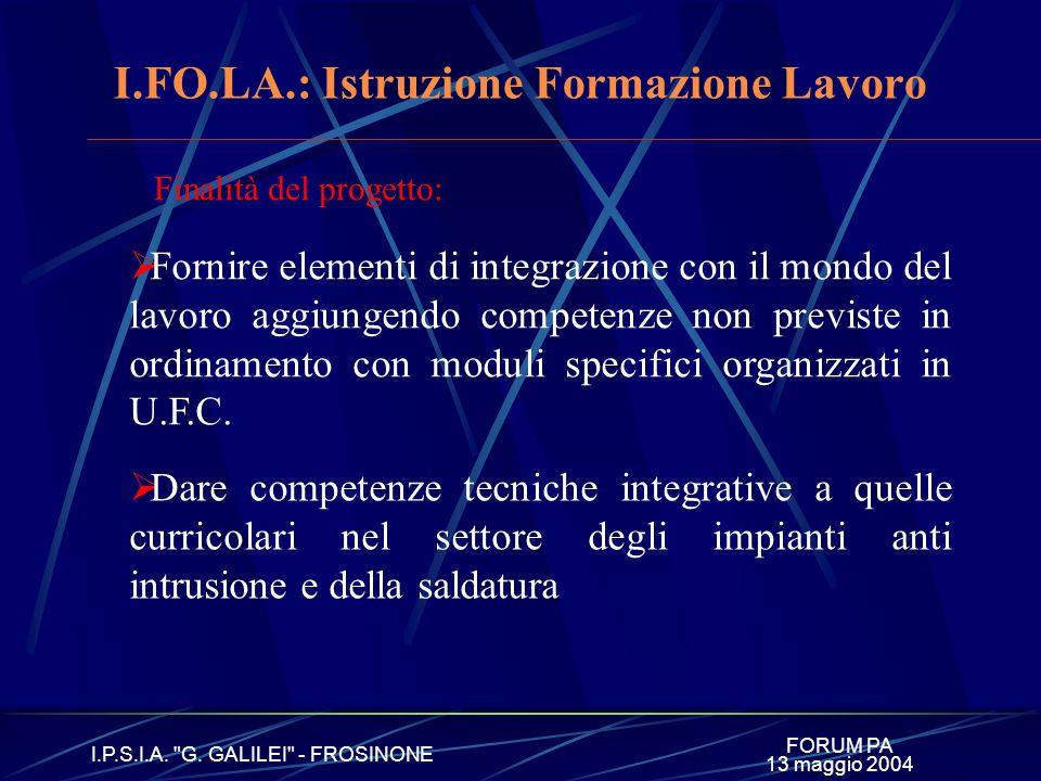 FORUM PA I.P.S.I.A. G. GALILEI - FROSINONE 13 maggio 2004 I. FO. LA. Istruzione Formazione Lavoro