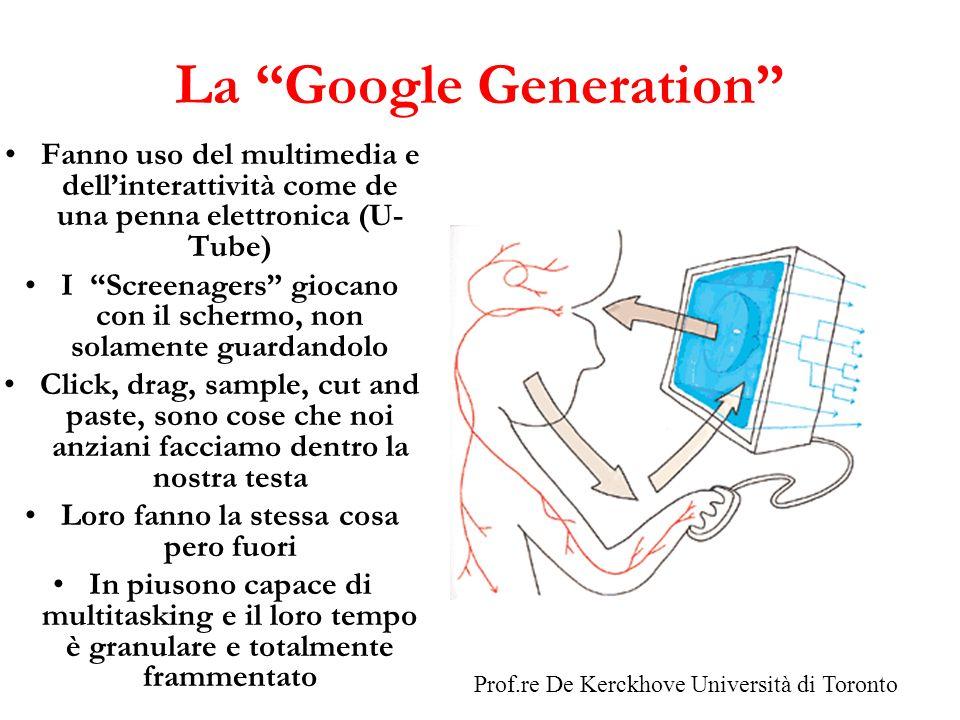 La Google Generation Fanno uso del multimedia e dellinterattività come de una penna elettronica (U- Tube) I Screenagers giocano con il schermo, non so