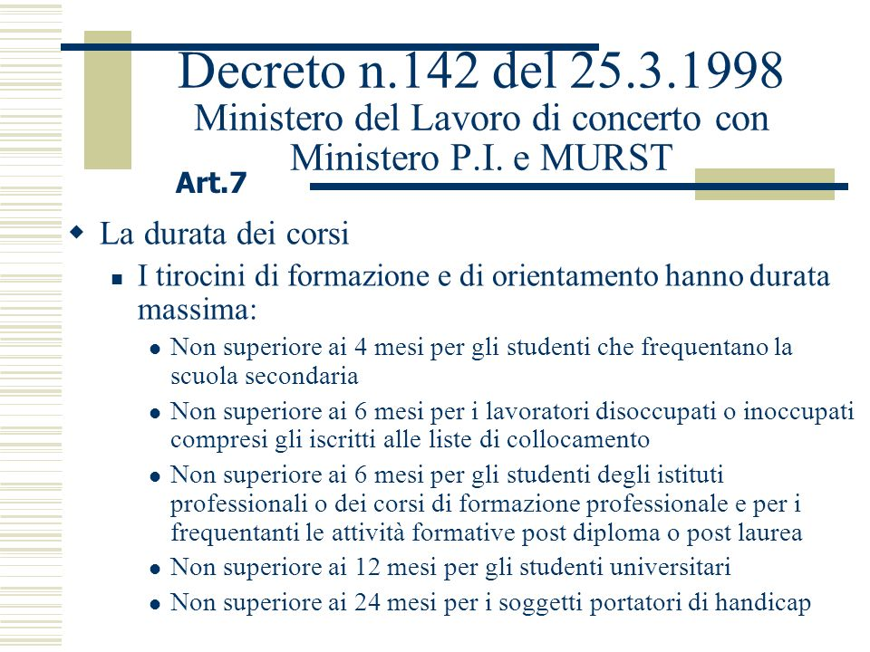 Decreto n.142 del 25.3.1998 Ministero del Lavoro di concerto con Ministero P.I. e MURST La durata dei corsi I tirocini di formazione e di orientamento
