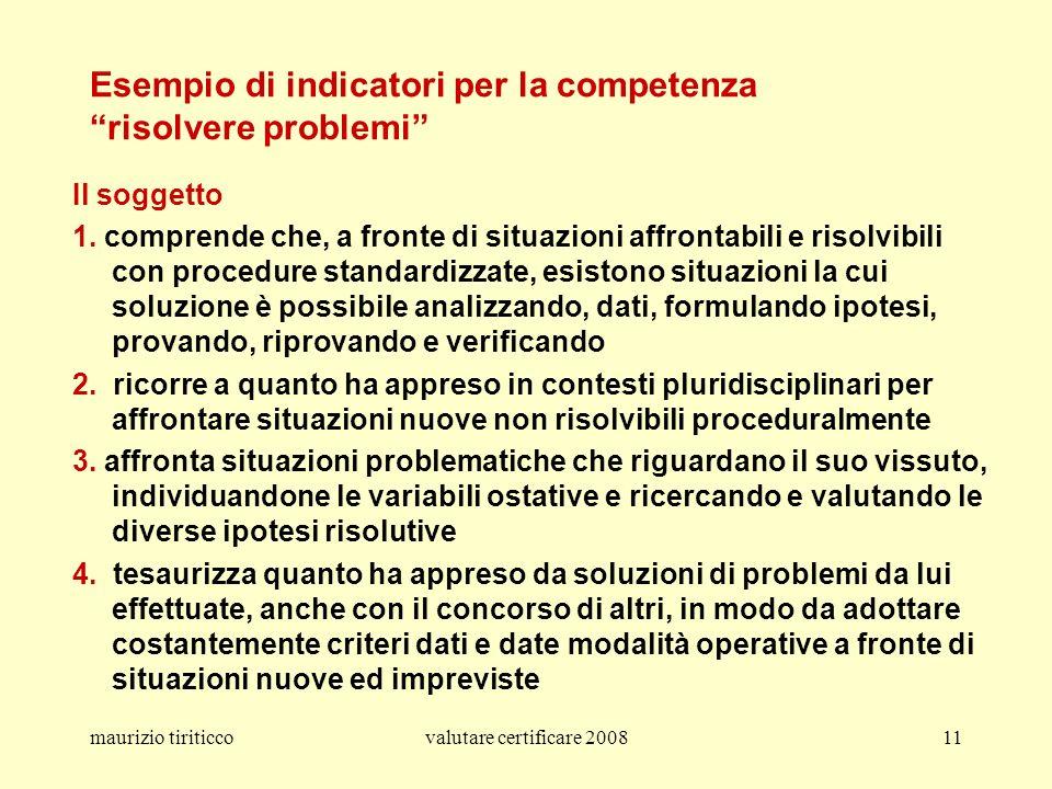 maurizio tiriticcovalutare certificare 200811 Esempio di indicatori per la competenza risolvere problemi Il soggetto 1. comprende che, a fronte di sit