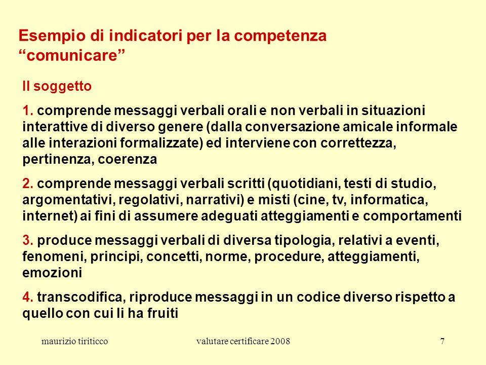 maurizio tiriticcovalutare certificare 20087 Esempio di indicatori per la competenza comunicare Il soggetto 1. comprende messaggi verbali orali e non